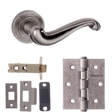 Old English Colchester Lever On Round Rose 3'' Latch Handle Pack, Distressed Silver (OE177DS-3-LATCH-PACK)
