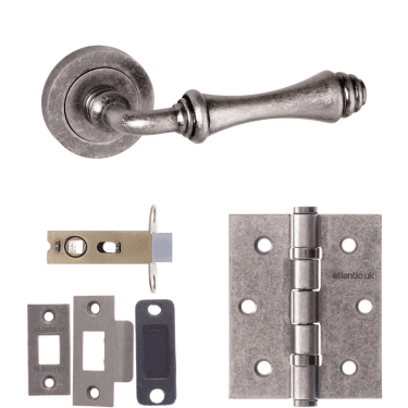 Old English Durham Lever On Round Rose 2.5'' Latch Handle Pack, Distressed Silver (OE127DS-2.5-LATCH-PACK)