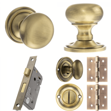 Old English Harrogate Mushroom Mortice Knob On Concealed Fix Rose 3'' Bathroom Lock Handle Pack, Antique Brass (OE58MMKAB-3-BATHROOM-LOCK-PACK)