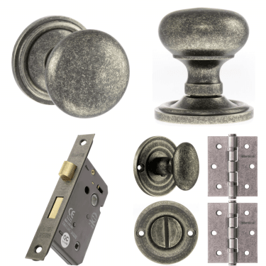 Old English Harrogate Mushroom Mortice Knob On Concealed Fix Rose 3'' Bathroom Lock Handle Pack, Distressed Silver (OE58MMKDS-3-BATHROOM-LOCK-PACK)