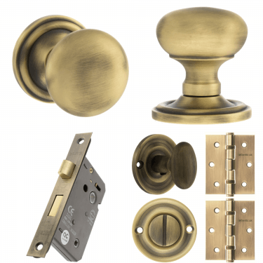 Old English Harrogate Mushroom Mortice Knob On Concealed Fix Rose 3'' Bathroom Lock Handle Pack, Matt Antique Brass (OE58MMKMAB-3-BATHROOM-LOCK-PACK)