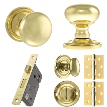 Old English Harrogate Mushroom Mortice Knob On Concealed Fix Rose 3'' Bathroom Lock Handle Pack, Polished Brass (OE58MMKPB-3-BATHROOM-LOCK-PACK)