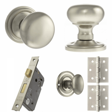 Old English Harrogate Mushroom Mortice Knob On Concealed Fix Rose 3'' Bathroom Lock Handle Pack, Satin Nickel (OE58MMKSN-3-BATHROOM-LOCK-PACK)