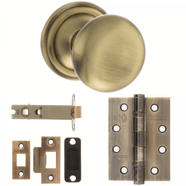 Old English Harrogate Mushroom Mortice Knob On Concealed Fix Rose 3'' Fire Rated Latch Handle Pack, Antique Brass (OE58MMKAB-3-FIRE-RATED-LATCH-PACK)