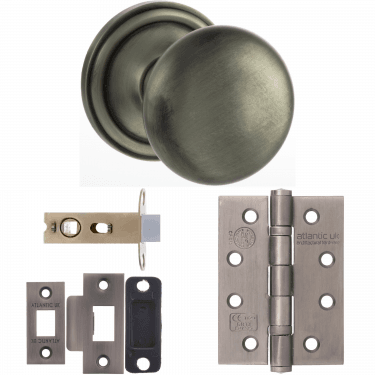 Old English Harrogate Mushroom Mortice Knob On Concealed Fix Rose 3'' Fire Rated Latch Handle Pack, Matt Gun Metal (OE58MMKMBN-3-FIRE-RATED-LATCH-PACK)