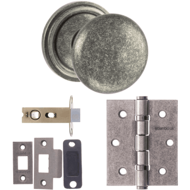 Old English Harrogate Mushroom Mortice Knob On Concealed Fix Rose 3'' Latch Handle Pack, Distressed Silver (OE58MMKDS-3-LATCH-PACK)