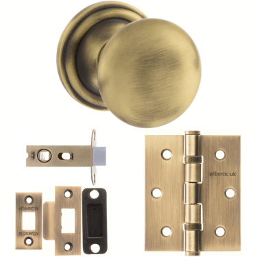 Old English Harrogate Mushroom Mortice Knob On Concealed Fix Rose 3'' Latch Handle Pack, Matt Antique Brass (OE58MMKMAB-3-LATCH-PACK)