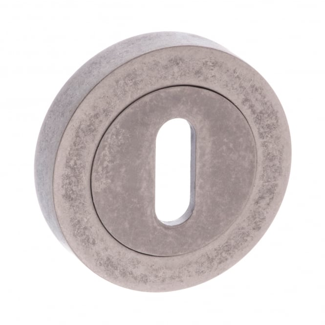 Atlantic Handles Old English Key Escutcheon On Round Rose - Distressed Silver (OEESCKDS)