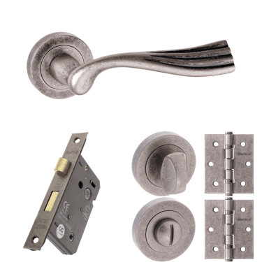Old English Richmond Lever On Round Rose 2.5'' Bathroom Lock Handle Pack, Distressed Silver (OE110DS-2.5-BATHROOM-LOCK-PACK)