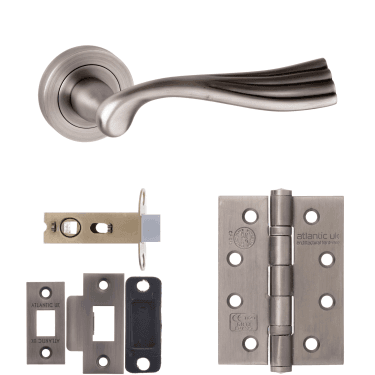 Old English Richmond Lever On Round Rose 2.5'' Fire Rated Latch Handle Pack, Matt Gun Metal (OE110MBN-2.5-FIRE-RATED-LATCH-PACK)