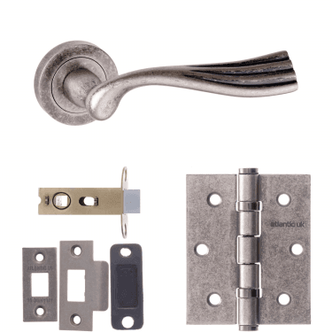 Old English Richmond Lever On Round Rose 2.5'' Latch Handle Pack, Distressed Silver (OE110DS-2.5-LATCH-PACK)
