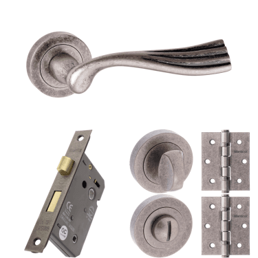 Old English Richmond Lever On Round Rose 3'' Bathroom Lock Handle Pack, Distressed Silver (OE110DS-3-BATHROOM-LOCK-PACK)
