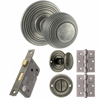 Old English Ripon Reeded Mortice Knob On Concealed Fix Rose 3'' Bathroom Lock Handle Pack, Distressed Silver (OE50RMKDS-3-BATHROOM-LOCK-PACK)