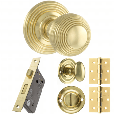 Old English Ripon Reeded Mortice Knob On Concealed Fix Rose 3'' Bathroom Lock Handle Pack, Polished Brass (OE50RMKPB-3-BATHROOM-LOCK-PACK)