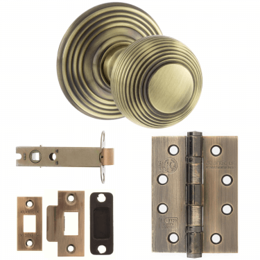 Old English Ripon Reeded Mortice Knob On Concealed Fix Rose 3'' Fire Rated Latch Handle Pack, Antique Brass (OE50RMKAB-3-FIRE-RATED-LATCH-PACK)