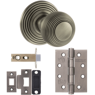 Old English Ripon Reeded Mortice Knob On Concealed Fix Rose 3'' Fire Rated Latch Handle Pack, Matt Gun Metal (OE50RMKMBN-3-FIRE-RATED-LATCH-PACK)