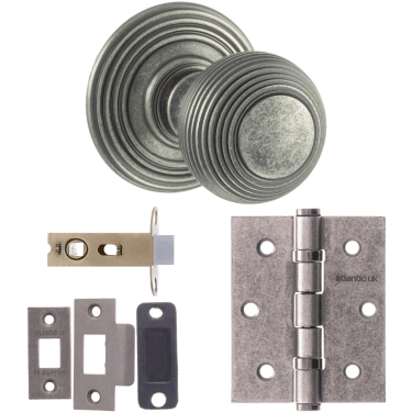 Old English Ripon Reeded Mortice Knob On Concealed Fix Rose 3'' Latch Handle Pack, Distressed Silver (OE50RMKDS-3-LATCH-PACK)
