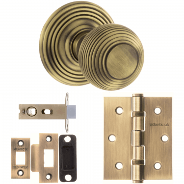 Old English Ripon Reeded Mortice Knob On Concealed Fix Rose 3'' Latch Handle Pack, Matt Antique Brass (OE50RMKMAB-3-LATCH-PACK)