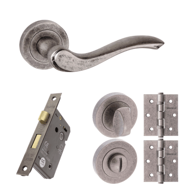 Old English Warwick Lever On Round Rose 2.5'' Bathroom Lock Handle Pack, Distressed Silver (OE178DS-2.5-BATHROOM-LOCK-PACK)