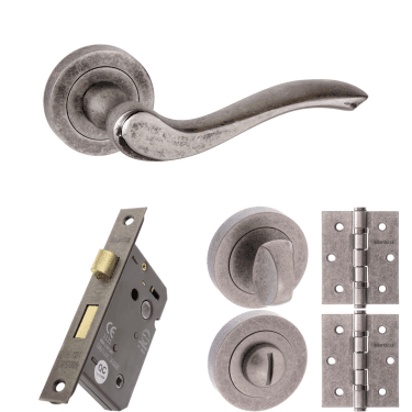 Old English Warwick Lever On Round Rose 3'' Bathroom Lock Handle Pack, Distressed Silver (OE178DS-3-BATHROOM-LOCK-PACK)