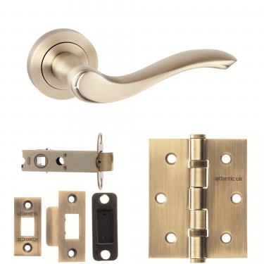 Old English Warwick Lever On Round Rose 3'' Latch Handle Pack, Matt Antique Brass (OE178MAB-3-LATCH-PACK)