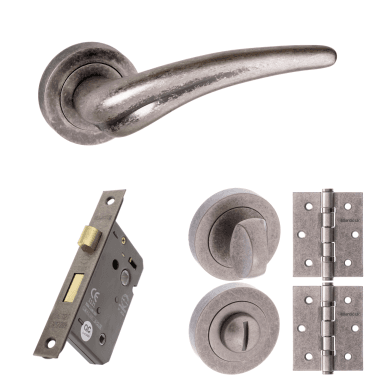 Old English York Lever On Round Rose 2.5'' Bathroom Lock Handle Pack, Distressed Silver (OE174DS-2.5-BATHROOM-LOCK-PACK)
