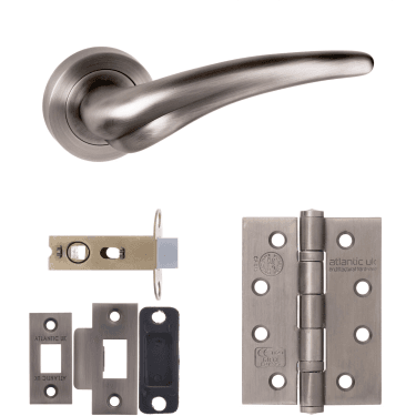 Old English York Lever On Round Rose 2.5'' Fire Rated Latch Handle Pack, Matt Gun Metal (OE174MBN-2.5-FIRE-RATED-LATCH-PACK)