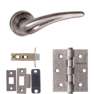 Old English York Lever On Round Rose 2.5'' Latch Handle Pack, Distressed Silver (OE174DS-2.5-LATCH-PACK)