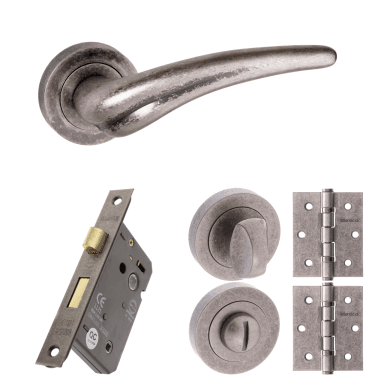 Old English York Lever On Round Rose 3'' Bathroom Lock Handle Pack, Distressed Silver (OE174DS-3-BATHROOM-LOCK-PACK)