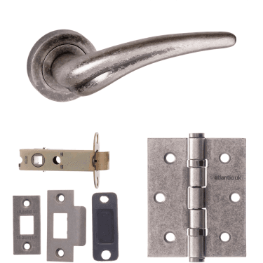 Old English York Lever On Round Rose 3'' Latch Handle Pack, Distressed Silver (OE174DS-3-LATCH-PACK)