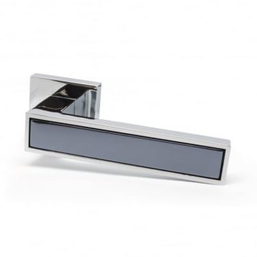 Oro Oro Parma Lever on Square Rose - Polished Chrome with Prestige Black Insert (ORO.PARMA.CP/BLK)