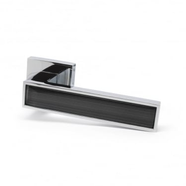 Oro Oro Pisa Lever on Square Rose - Polished Chrome with Stylish Grey Insert (ORO.PISA.CP/GREY)