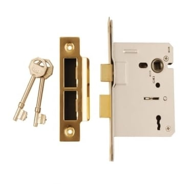 Polished Electro Brass 3 Lever Mortice Sash Lock