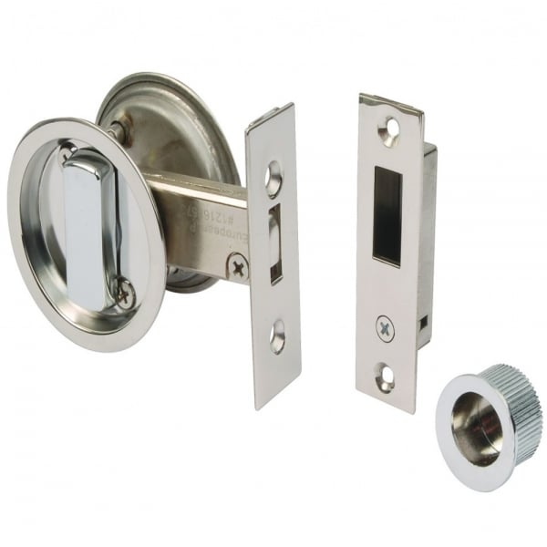 Dale hardware round sliding door bathroom hook lock leader doors for Stainless steel bathroom doors