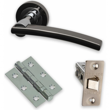 Premium Opal Lever On Round Rose Fire Rated Handle Pack, Two-Tone Nickel (OPA.09.PCP/BNPFIREDOOR)