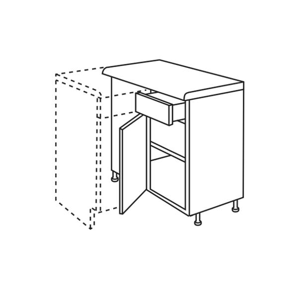 Oak slab kitchen corner base unit at for Kitchen corner base units 800mm