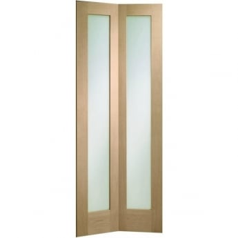 XL Joinery Internal Un-Finished Oak Pattern 10 Bi-Fold Door with Clear Glass