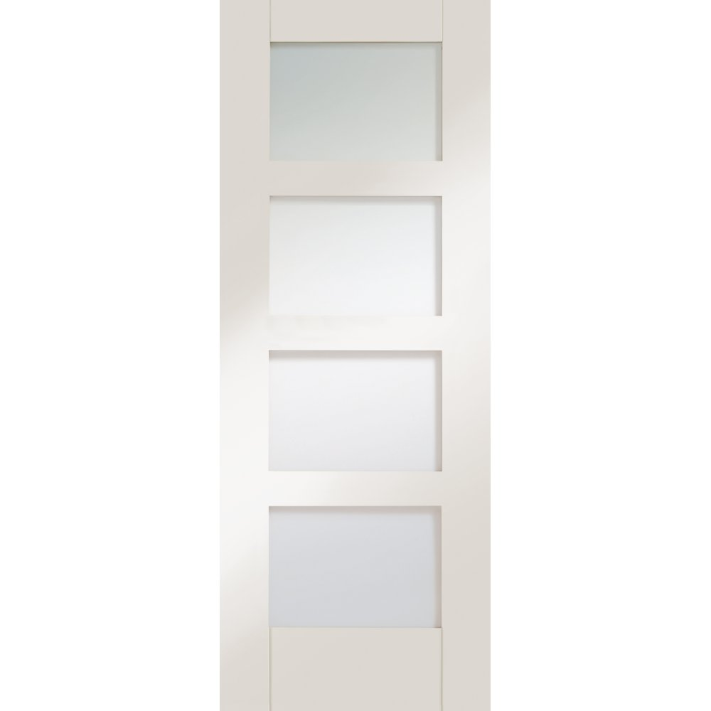 White shaker primed clear glass door at leader doors - White doors with glass internal ...