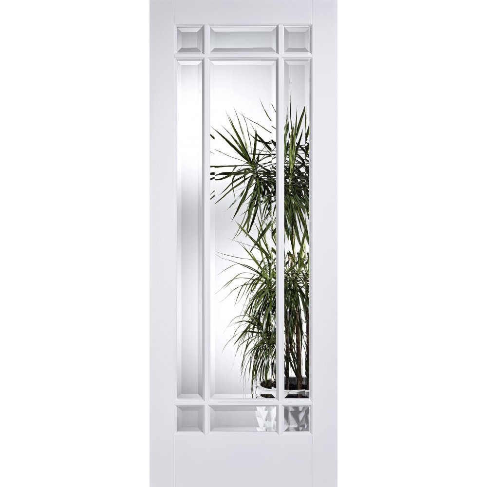 White manhattan clear bevelled glass door at leader doors - White doors with glass internal ...