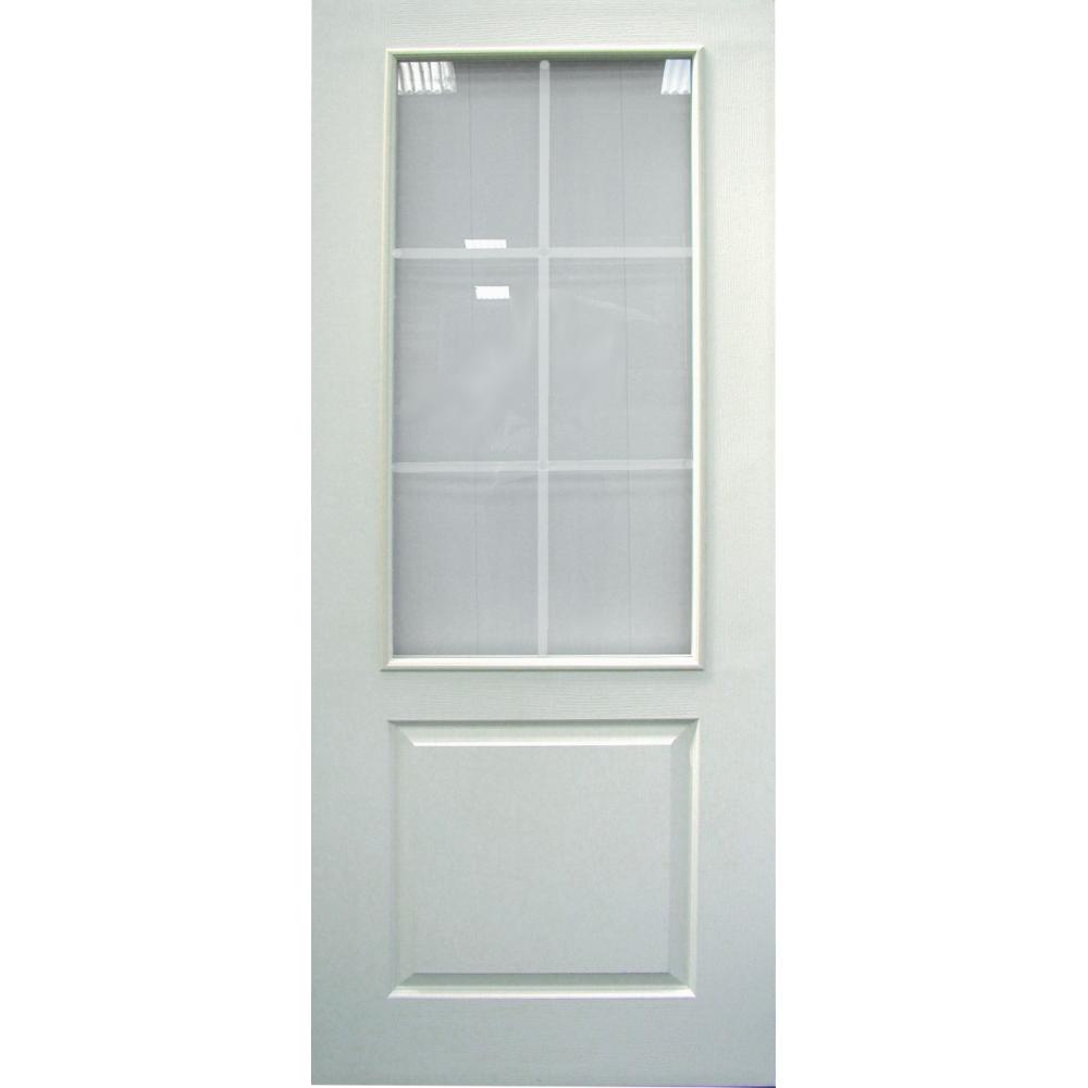 Wooddoor white moulded 1 panel 6 light glazed door from leader doors - White glass panel internal doors ...