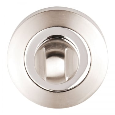 Satin Nickel/Polished Chrome Round Bathroom Turn & Release (DH003622)