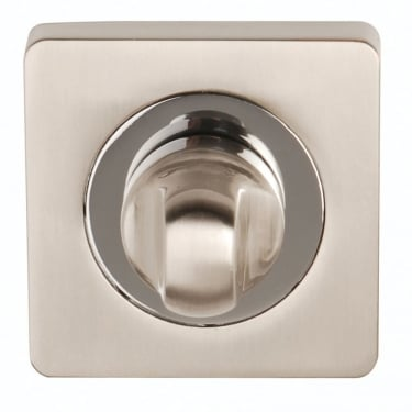 Satin Nickel/Polished Chrome Square Bathroom Turn & Release (DH003622-SQ)