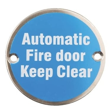 Satin Stainless Steel 75mm Automatic Fire Door Keep Clear Pictogram Disc