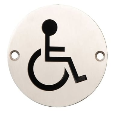 Satin Stainless Steel 75mm Disabled Symbol Pictogram Disc