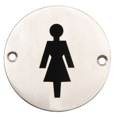 Satin Stainless Steel 75mm Female Symbol Pictogram Disc