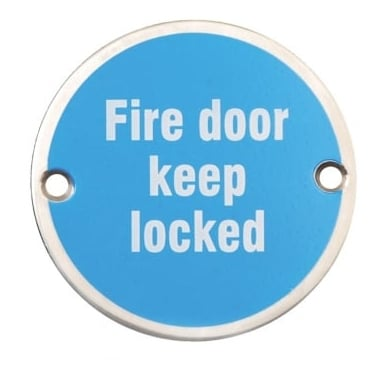 Satin Stainless Steel 75mm Fire Door Keep Locked Pictogram Disc