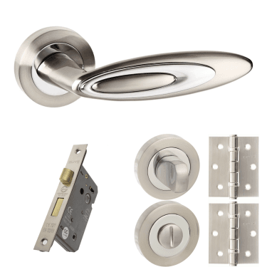 Senza Pari Elisse Designer Lever On Round Rose 2.5'' Bathroom Lock Handle Pack, Satin Nickel/Polished Chrome (SPM222SNCP-2.5-BATHROOM-LOCK-PACK)