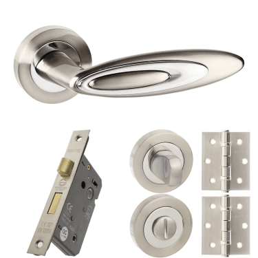 Senza Pari Elisse Designer Lever On Round Rose 3'' Bathroom Lock Handle Pack, Satin Nickel/Polished Chrome (SPM222SNCP-3-BATHROOM-LOCK-PACK)