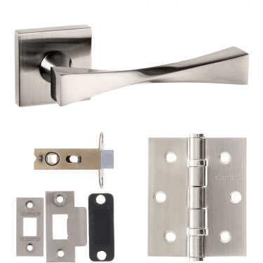 Senza Pari Guido Designer Lever On Flush Square Rose 2.5'' Latch Handle Pack, Satin Nickel (SP190SN-2.5-LATCH-PACK)