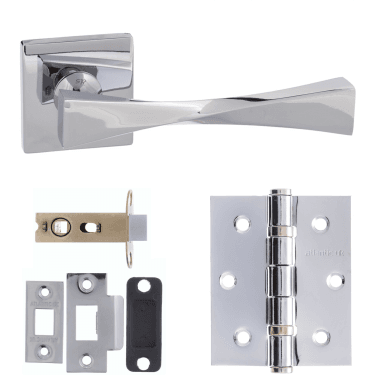 Senza Pari Guido Designer Lever On Flush Square Rose 3'' Latch Handle Pack, Polished Chrome (SP190CP-3-LATCH-PACK)
